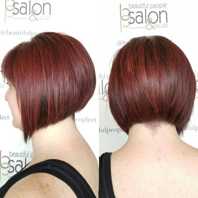 Red Bob with Asymmetrical Cut