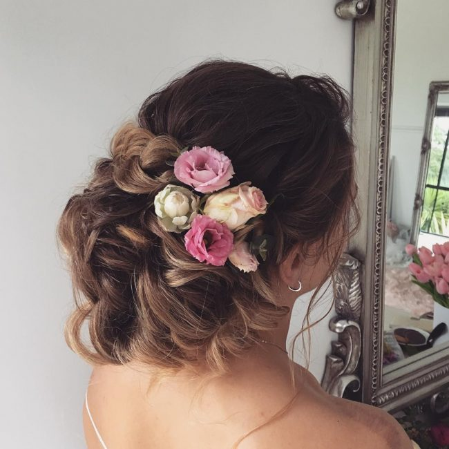 Relaxed Low Bun with French Braid