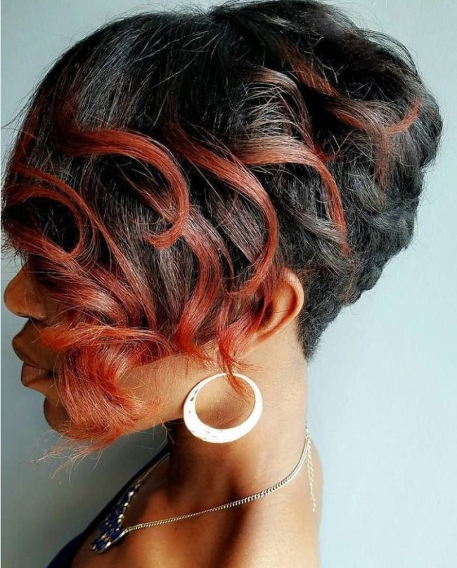 Sassy Black and Red Updo