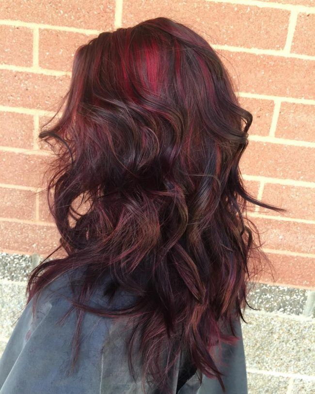 Sexy Dark Curls with Striking Burgundy Lights