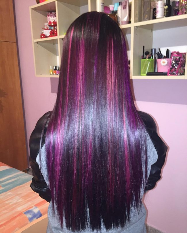 Shiny Straight Violet Pink Hair