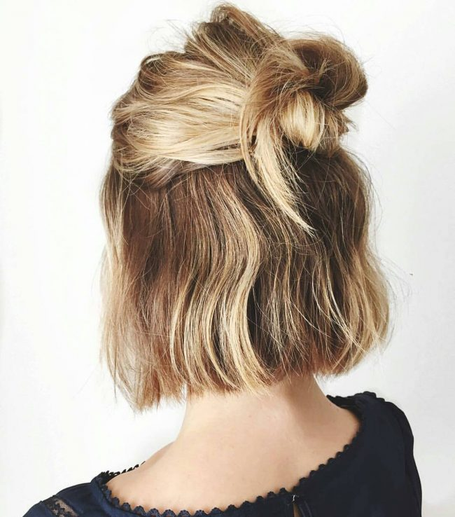 Short Blonde Updo with Golden Highlights