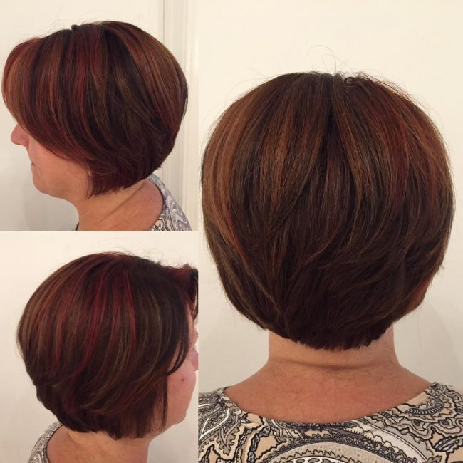 Short Straight Bob with Auburn and Burgundy Highlights