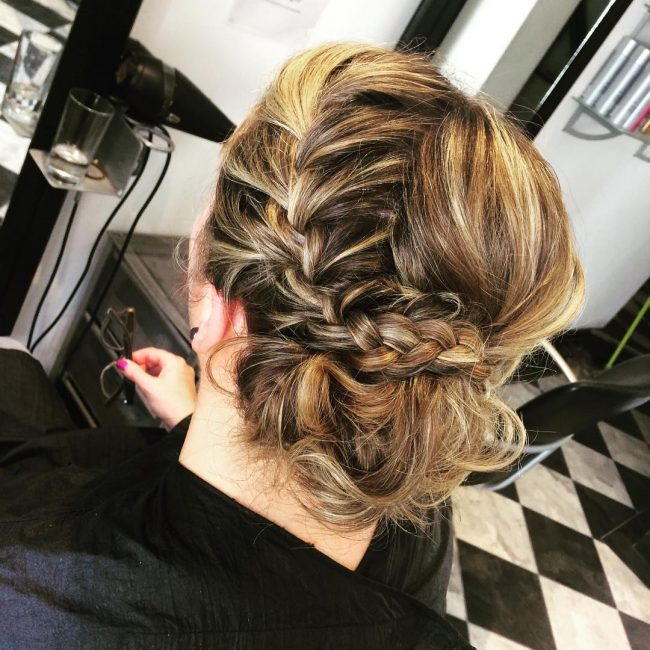 Side Bun with French Plait