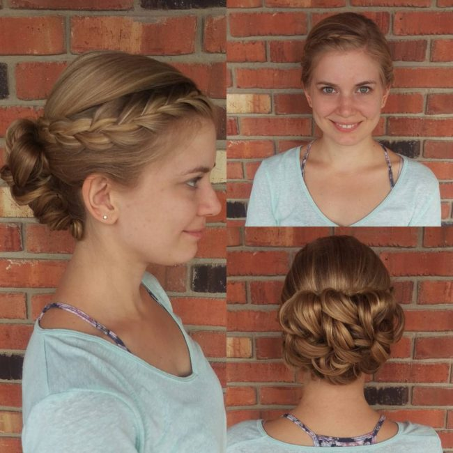 Side French Braid Into a Curly Bun
