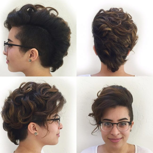 Side Swept Curly Faux Hawk
