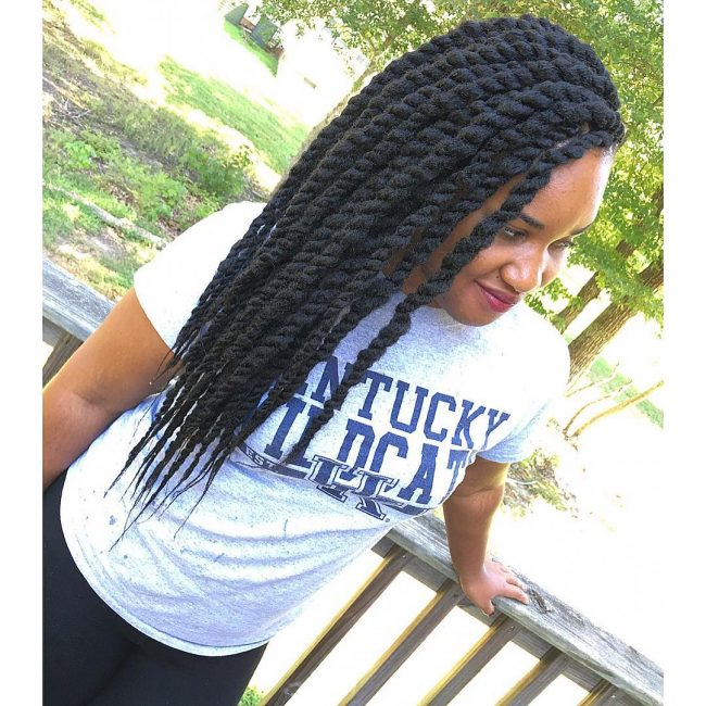 Side Swept Marley Twists