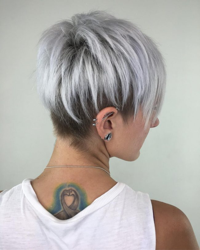 Silver Pixie Cut with Layered Lowlights