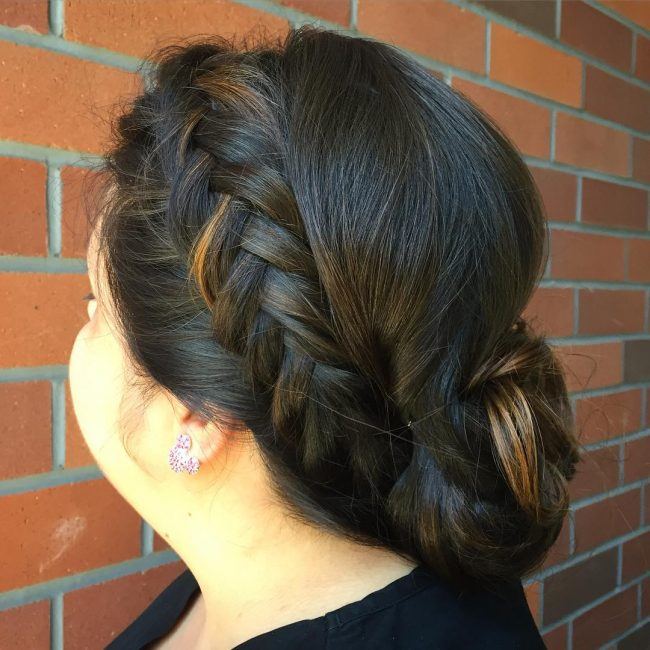Simple Side Braid into a Chignon