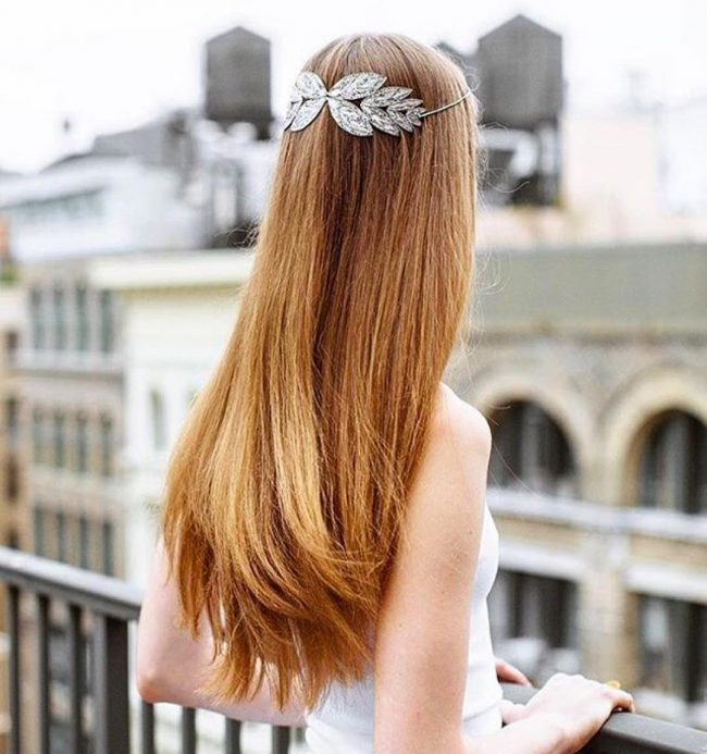 Straight and Soft Locks with a Gorgeous Filigree Headband