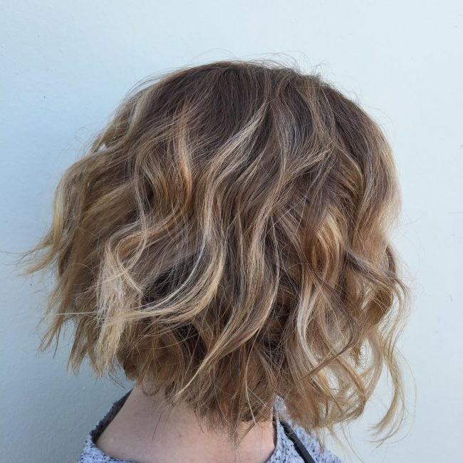 Textured Beige Blonde Bob
