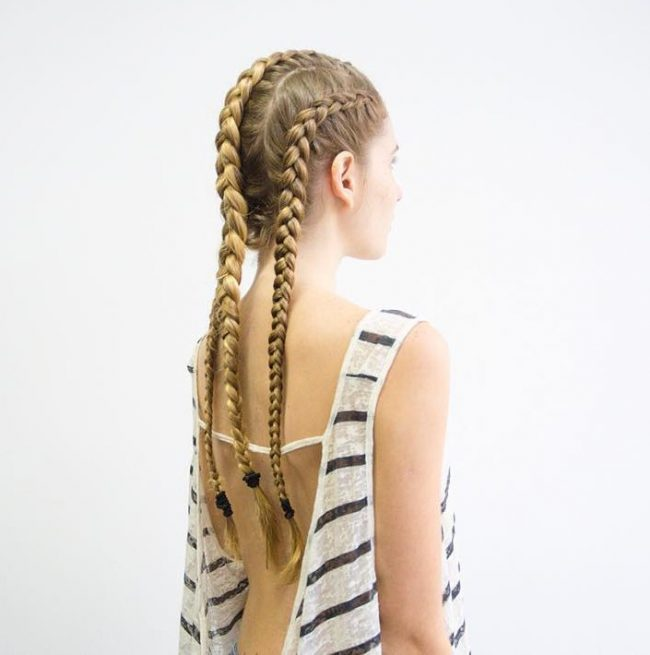 Fishtail braid pigtails