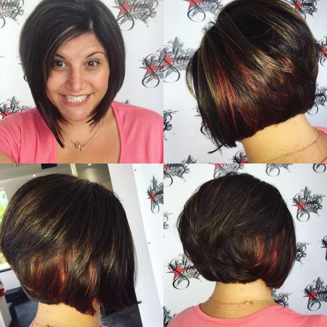 Tousled Bob with Red and Golden Highlights