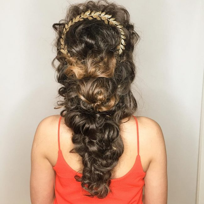 Twisted Curly Wedding Hairstyle for Long Hair