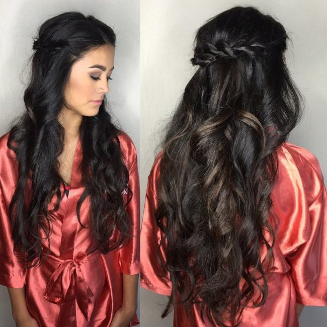 Twisted Half Updo with Voluminous Curls