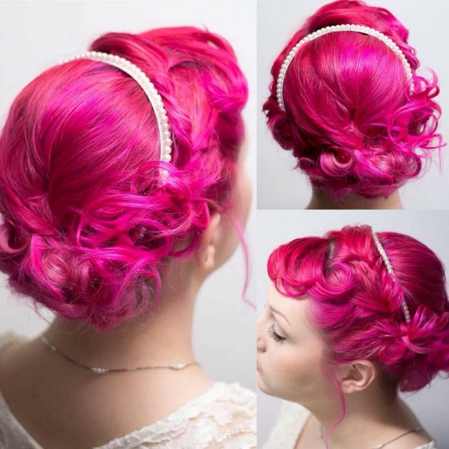Twisted Pink Hair with a Headband