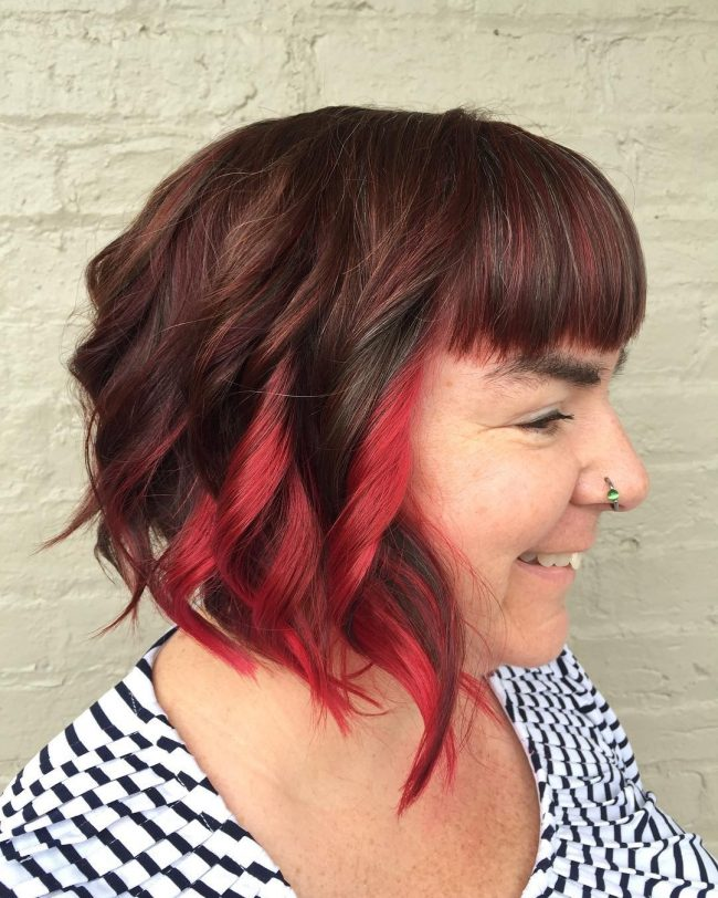 Wavy Bob with Bright Plum Highlights