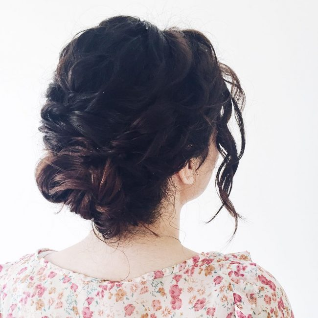 Wavy Short Hair Updo