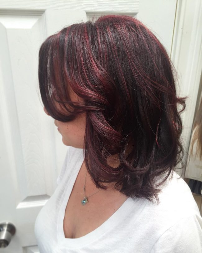 Wavy Textured Bob with Burgundy Highlights