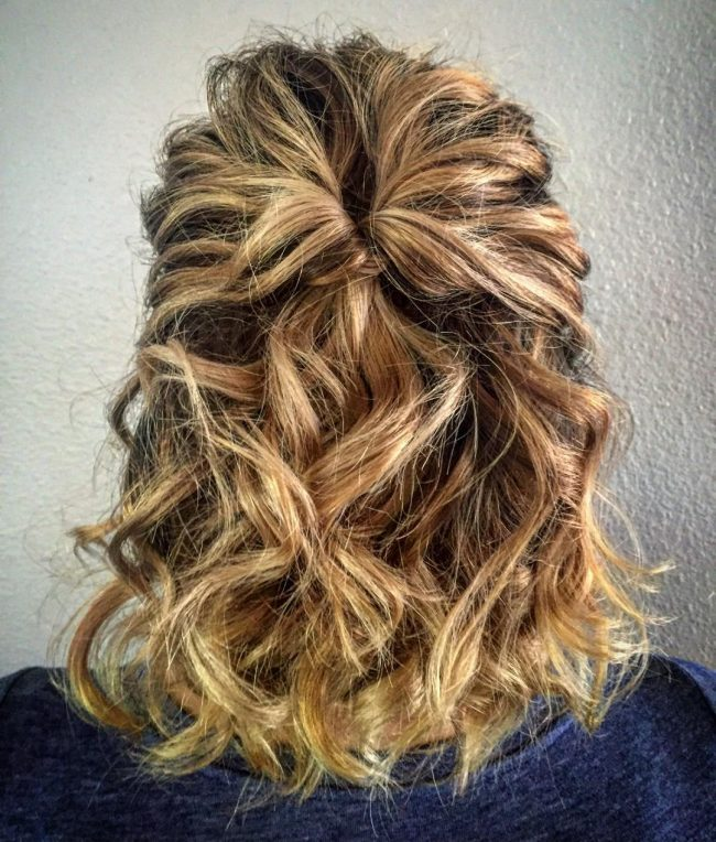 Wavy and Textured Half Updo