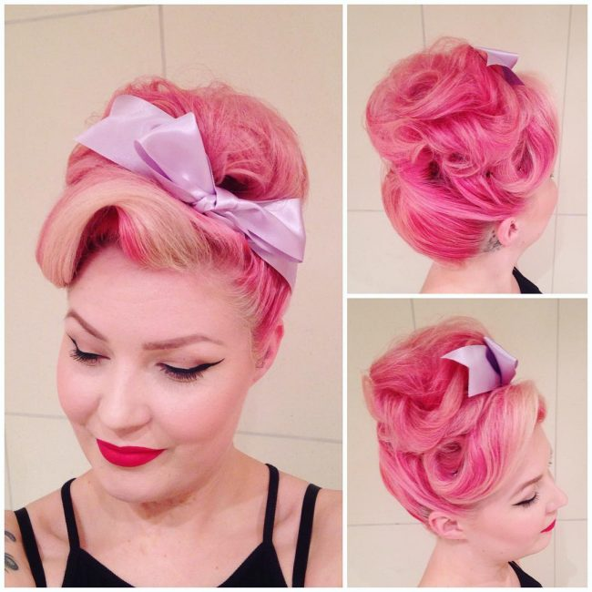 #10 Pinup Pink Curls with Purple Bow Tie