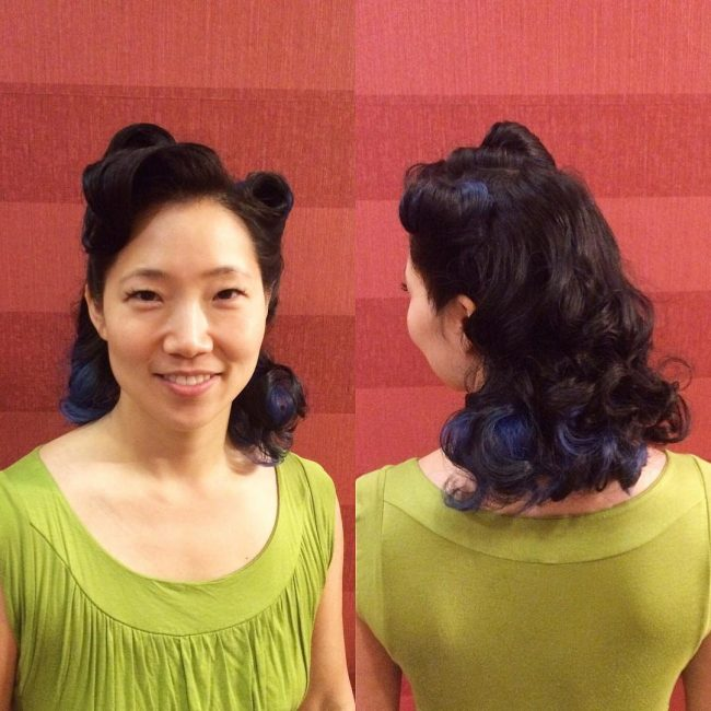 #37 Victory Rolls with Blue Peekaboo Highlights