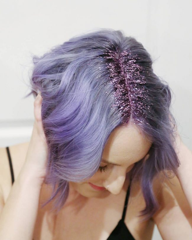 Ashy Purple Bangs with Glitters