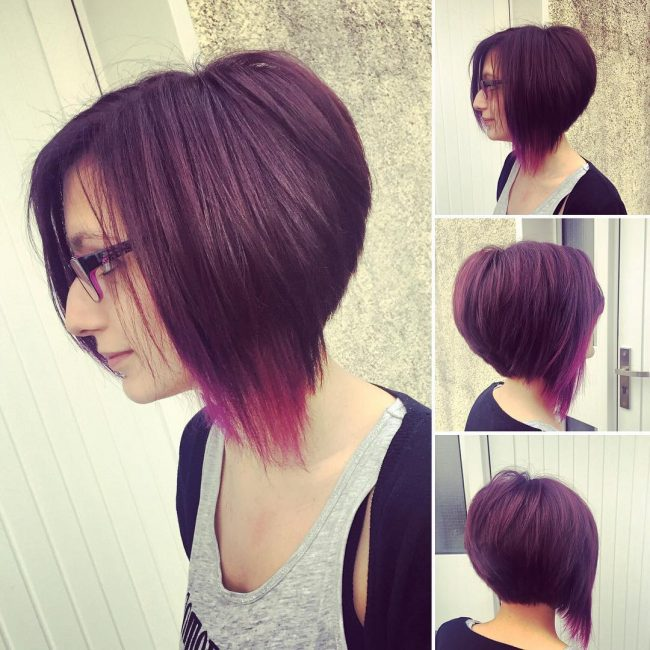 Asymmetrical Deep Purple Bob