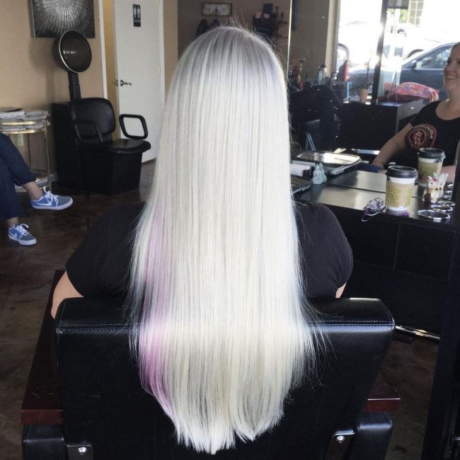 Baby Pink on Icy Platinum Blonde