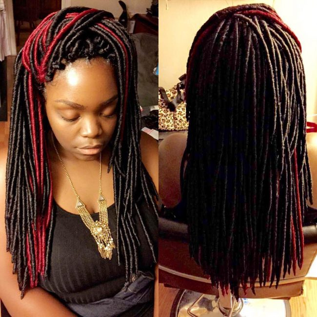 Black and Red Faux Locs