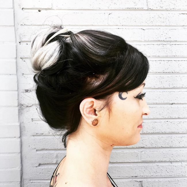 Black and Silver Gray Updo