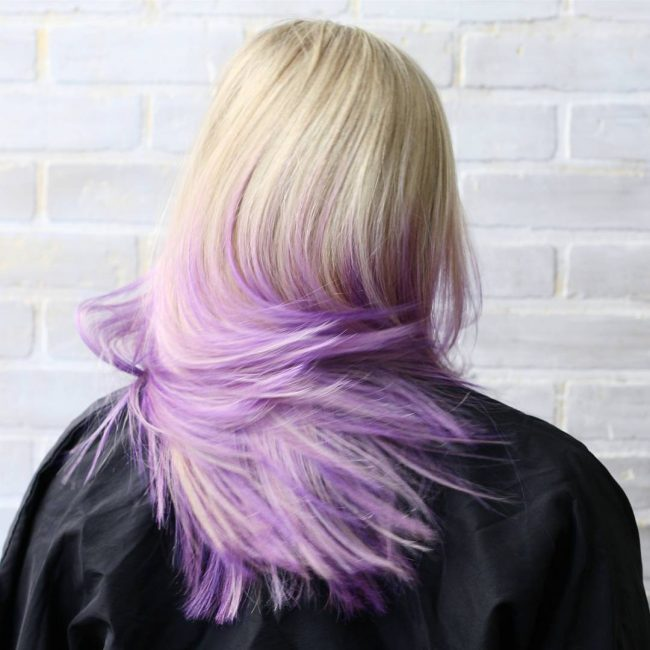 Blonde into Light Purple Ombre