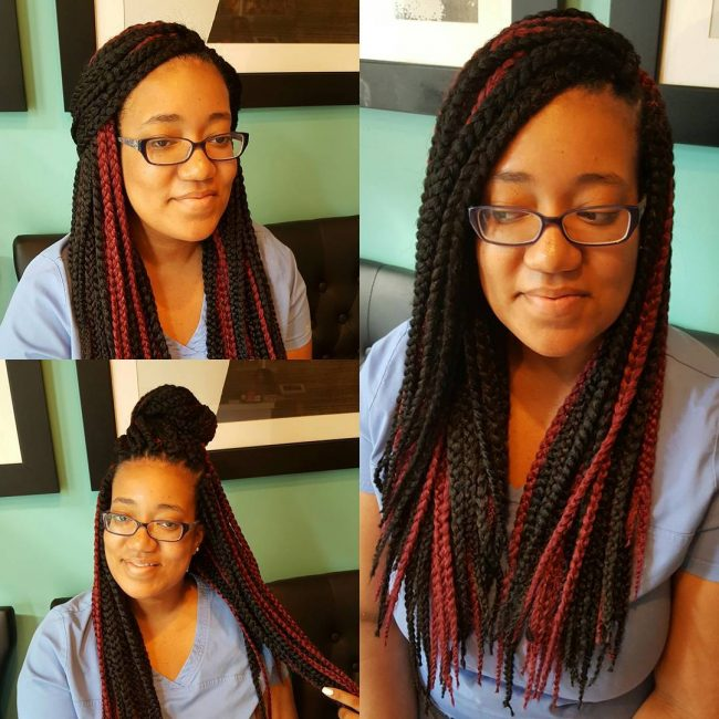 Box Braids in Burgundy and Black