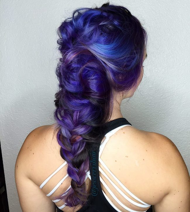 Braided Blue on Purple Strands