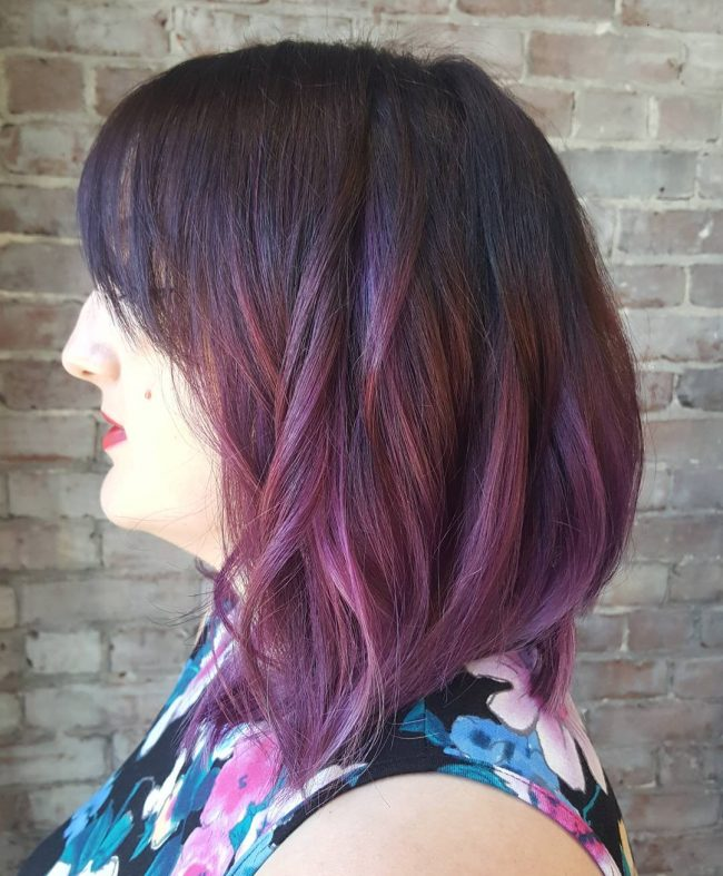 Brown and Purple Blend Ombre