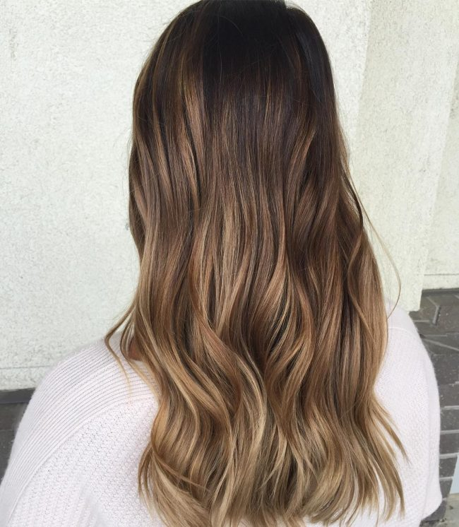 Brunette Ombre with Ash Brown Dip