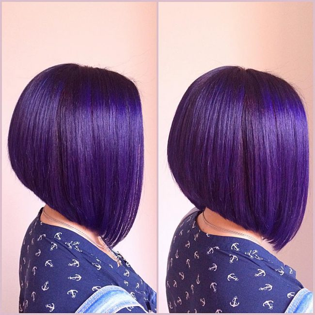 Chic Violet Purple A-Line Bob