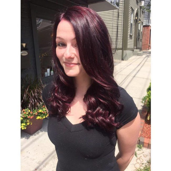 Curled Red Wine Hair