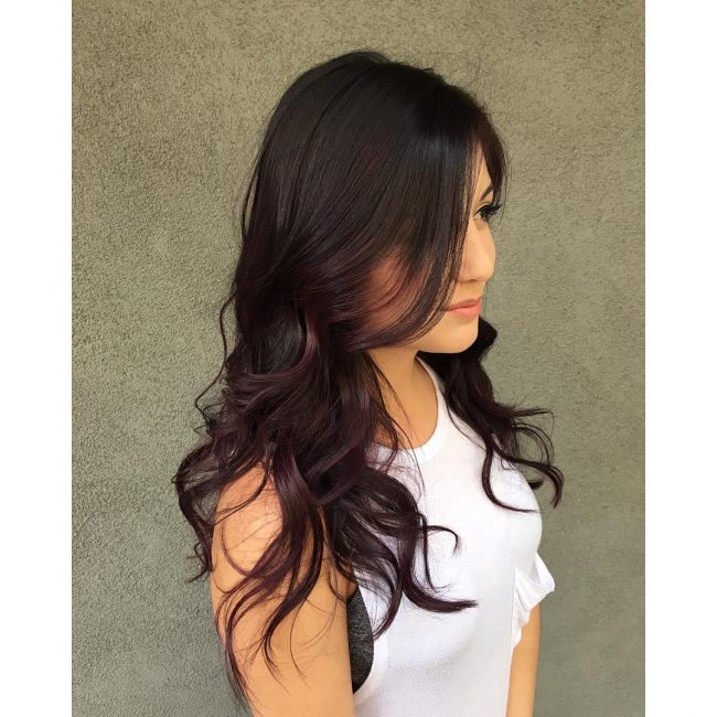 Curly and Textured Violet Bangs