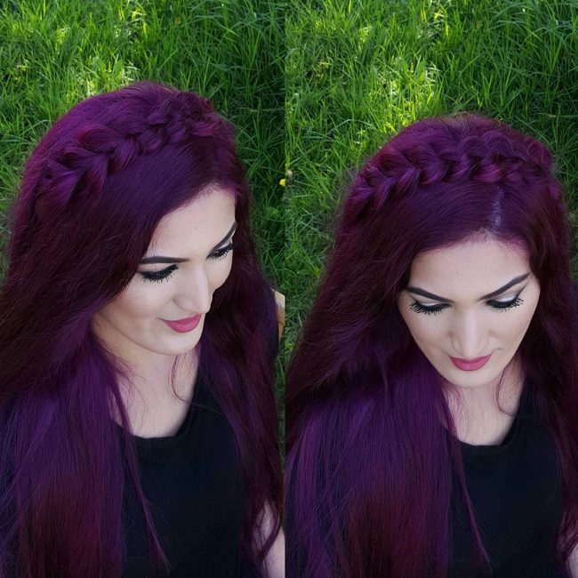 Dramatic Crown Braid on a Purple Mane