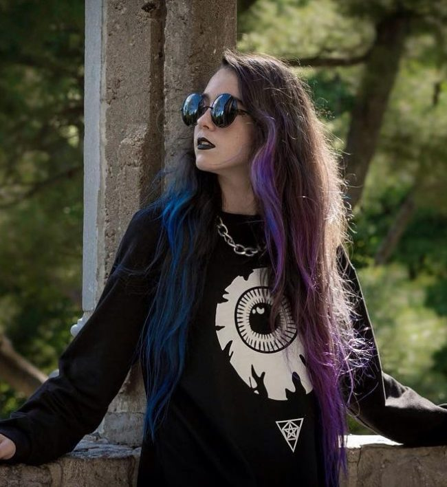 Edgy Purple and Blue Hair