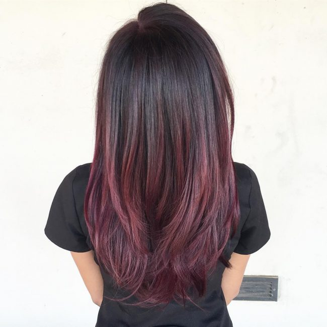 Eye-Catching Red Violet Balayage Ombre