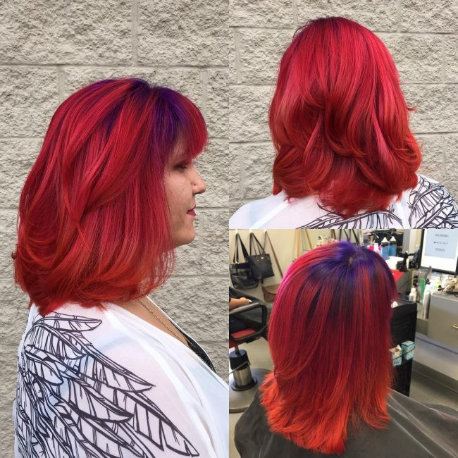 Flaming Red with Royal Purple Roots
