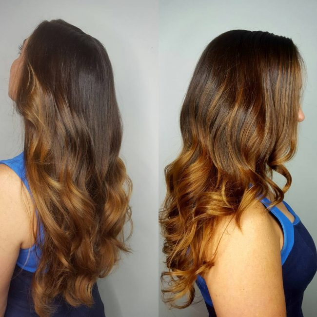 Golden Balayage Highlights for Brunette