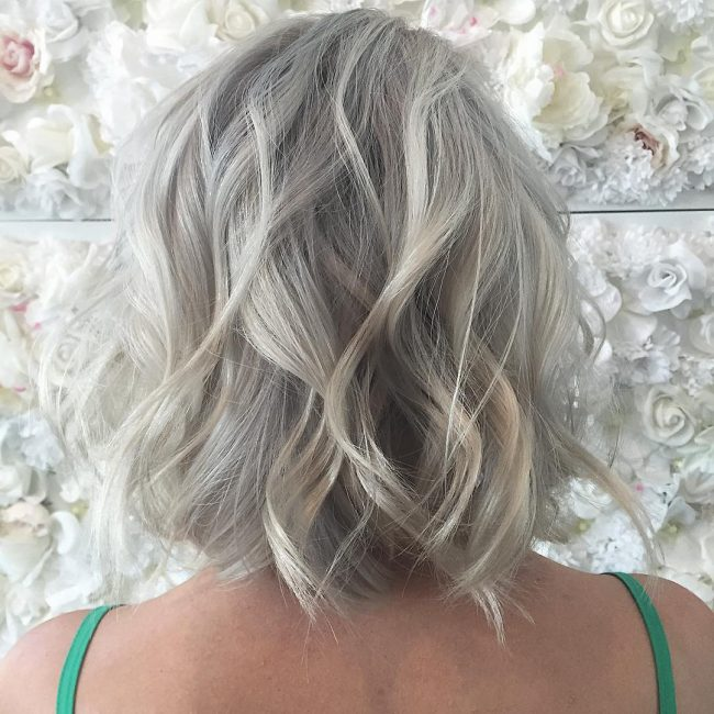 Icy Blonde with Salt and Pepper Highlights