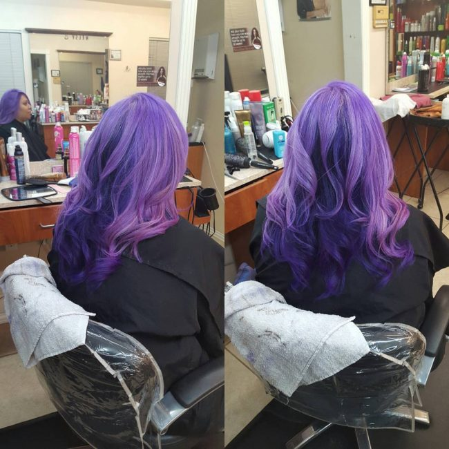 Light and Dark Purple Wavy Locks