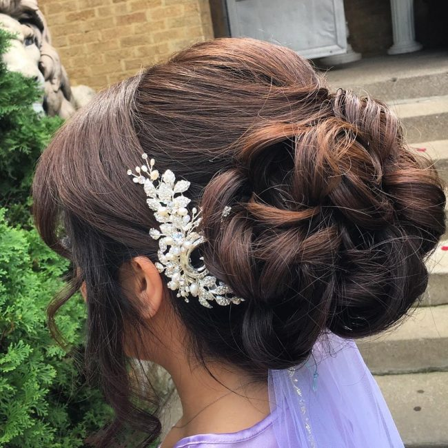 Medium Brown Messy Updo