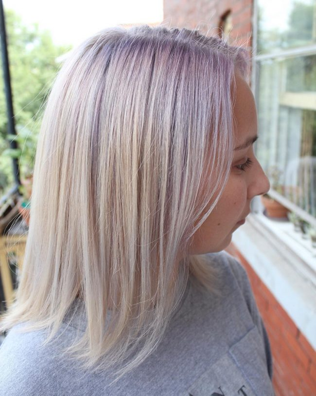 Platinum Bob with Lavender Accents