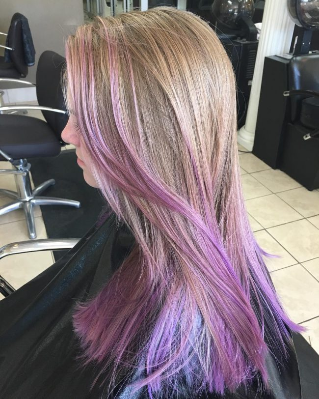 Purple Locks on Light Brown