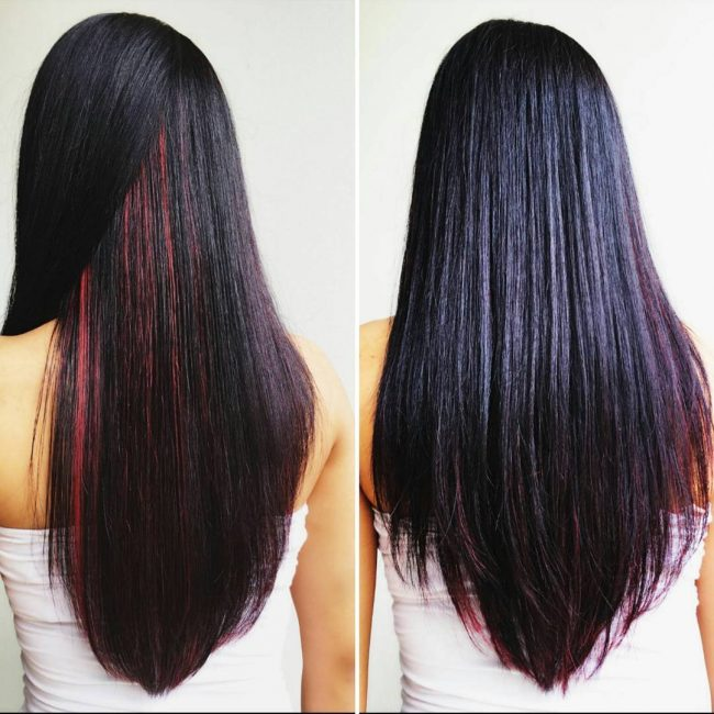 Red Streaks on Dark Purple Hair
